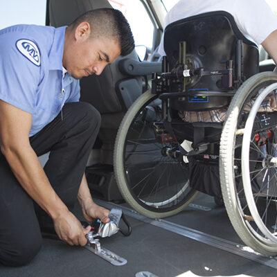 driver marking a wheelchair