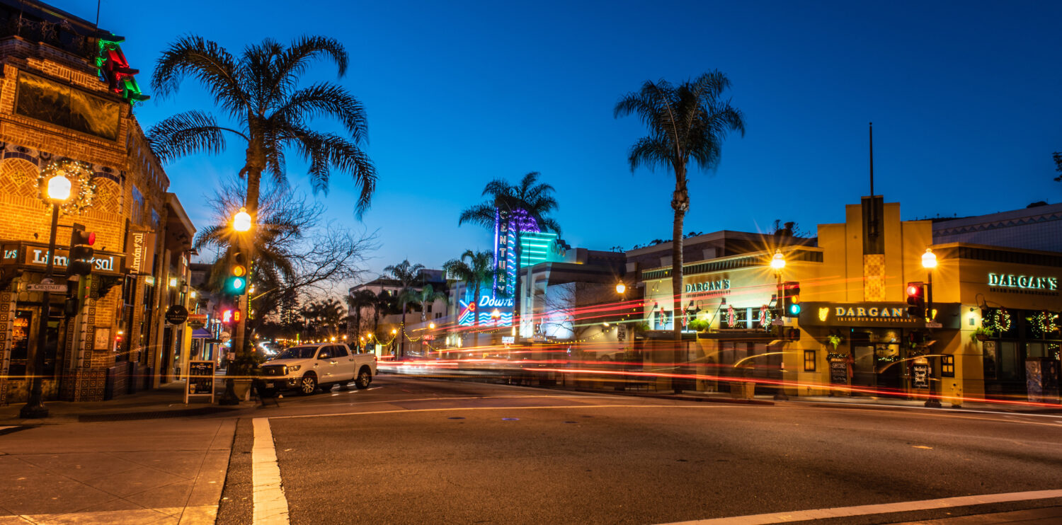 downtown ventura intersection at night